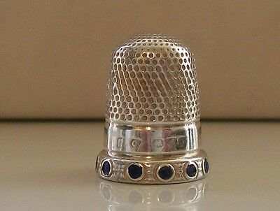 Nice Silver Thimble, Chester possibly 1913 with Nice Enamel Stone Decoration