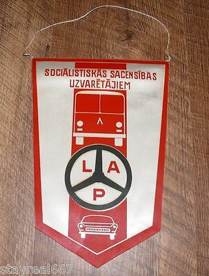 Authentic Soviet USSR Award Flag Banner For Liepaja Latvia Bus Park Workers #31