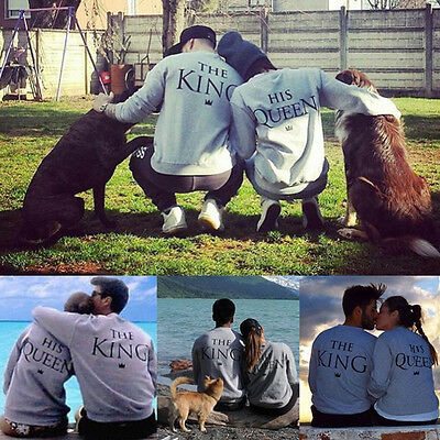 King Queen Couple Matching Love Sweatshirt His and Hers Pullover Sweater Jumper