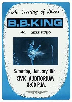 BB King - POSTER - 1972 Live BLUES gig - Gibson Guitar Master LUCILLE B.B.
