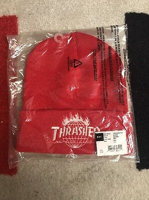 HUF X Thrasher TDS  beanie In Red Thrasher Flame Magazine Logo