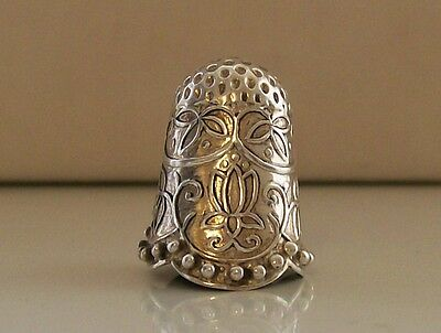 Nice White Metal/ Silver Thimble with Lovely Decoration