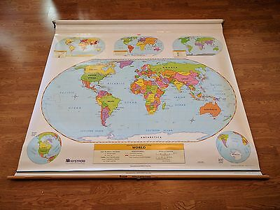 USED Nystrom Intermediate World US School Pull Down Markable Map Home School