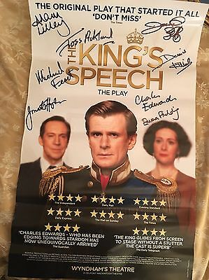 Kings Speech Poster Play Wyndham Theatre Signed By Cast Including Joss Auckland