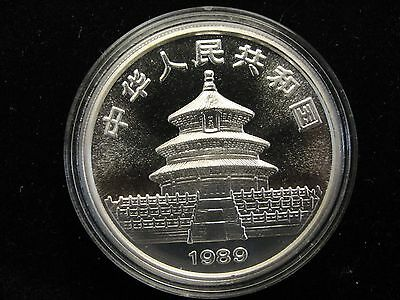 1989 China 1 oz. Silver Panda 10 Yuan Coin Unc. In Capsule