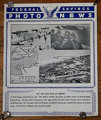 "Vintage WWII Federal Savings Photo News Poster ""Hit And Run Raid At Dieppe"""