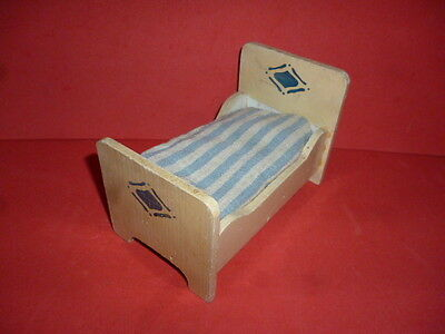 Vintage Dolls House ? German Wooden Bed With Mattress