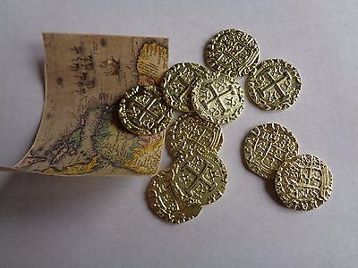10 Gold Metal Caribbean Pirate Treasure Coins