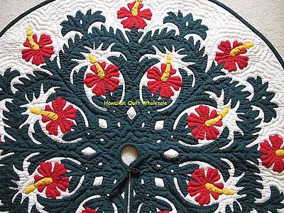 Hawaiian quilt  CHRISTMAS TREE SKIRT 100% hand quilted/ appliquéd Hibiscus 60""