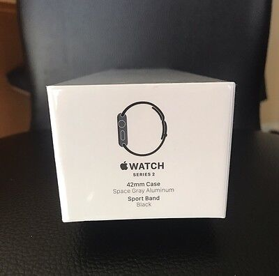 New Apple Watch Series 2 42mm Space Gray Aluminum Case Black Sport Band