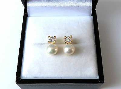 18ct Gold over Sterling Silver Freshwater Pearl & Stone Set Earrings.