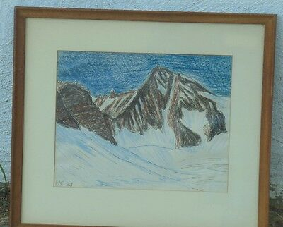 Pen & Ink & Crayon Drawing Of Snow Capped Mountains,signed,dated '21