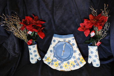 ****** Plaster  Apron Clock & Oven Mitts ******