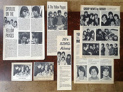 Lot Vintage Clippings ~ THE YELLOW PAYGES ~ 1960s Band ~ Rare Pics / Info.