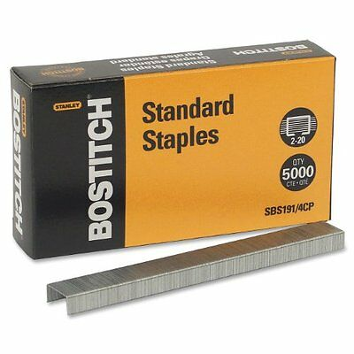 Bostitch Premium Standard Staples, Full-Strip, 0.25 Inch Leg, 5,000 per Box (...