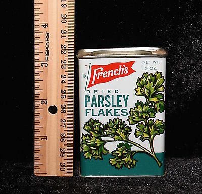 Antique LITHO FRENCH'S 1/4 oz PARSLEY FLAKES Spice Tin ROCHESTER NY Vintage Old