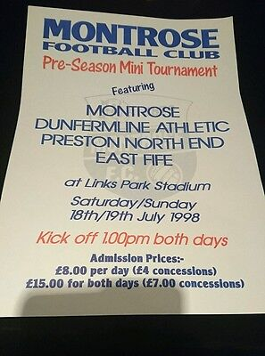 1998 pre season tournament poster Dunfermline Preston East Fife Montrose