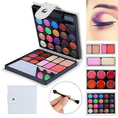 32 Color Shimmer Eyeshadow Eye Shadow Palette Makeup Cosmetic Brush Set White FT