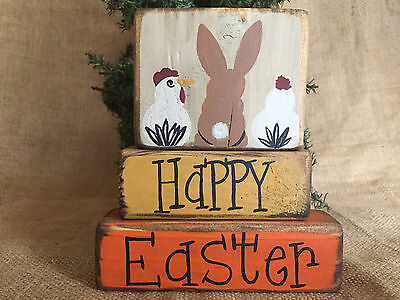Primitive Country Bunny And Chicks Happy Easter 3pc Shelf Sitter Wood Block Set