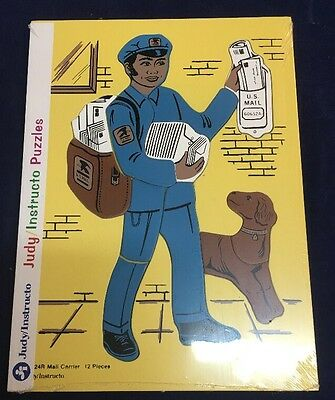 """Vintage 1990 Wooden Puzzle By Judy Instructo """"MAIL CARRIER"""" 12 Pieces NEW"""