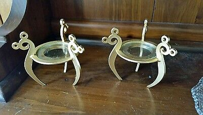 Mickey Mouse candle holders set of 2 goldtone ear motive tri-legg