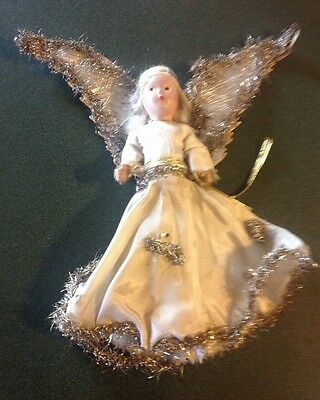 Vintage Antique Angel Feather Tree Topper Silver Tinsel Wings Composition Face