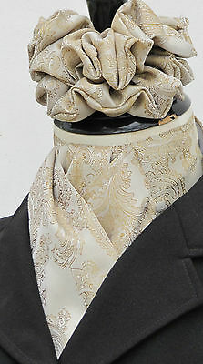 Ready Tied Tan & Gold Paisley Satin Riding Stock & Scrunchie - Dressage Hunting