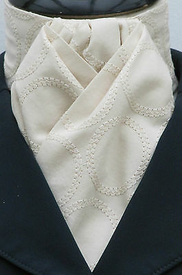 Ready tied Cream Circles Embroidered Cotton Dressage Riding Stock - Show Tie