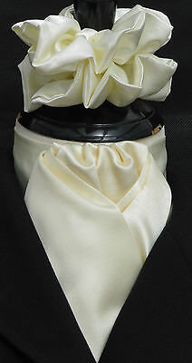 Ready Tied Cream Faux Silk Satin Dressage Riding Stock & Scrunchie Show Hunting
