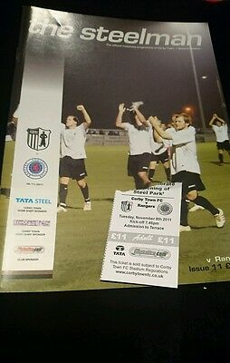 2011 friendly ticket Corby v Rangers programme and ticket