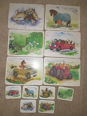 Placemats & Coasters set of 6, Farm life Country style Animal Country Matters