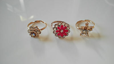 Indian Fancy Women Ring Bollywood Style Gold Fashion Rings Lot of 3 Rings