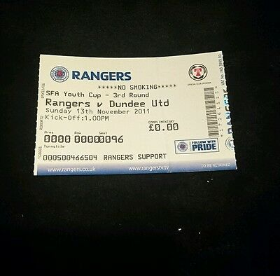 RARE 2011 youth cup ticket Rangers v Dundee united