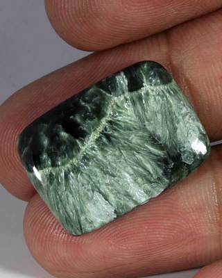 11.00Cts. STUNING NATURAL GREEN SERAPHNITE CUSHION CABOCHON LOOSE GEMSTONE