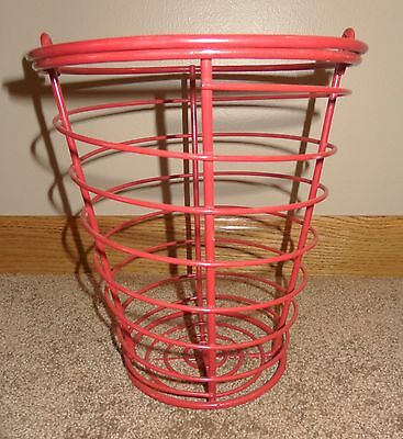 Nice Bright Red Golf Ball Basket Eggs Decorative Cottage Chic Wire Handle