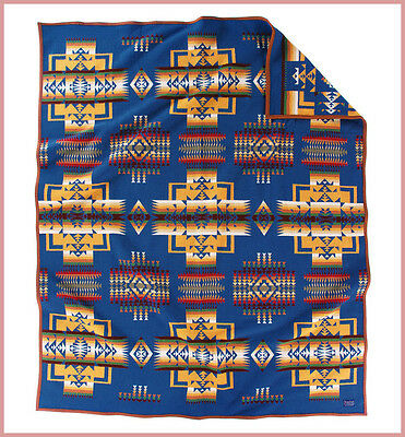 "NWT PENDLETON CHIEF JOSEPH BLANKET - BLUE -  64"" x 80"" MADE IN USA"
