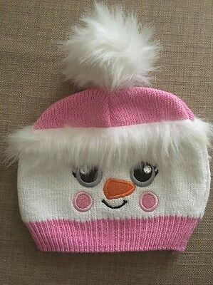 0-6 Months Baby Girl Winter Hat Pink And White