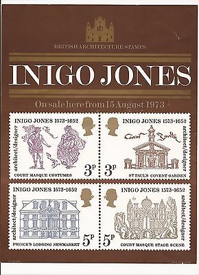 """1973 Inigo Jones stamp Issue, Gloss """"Grille Card"""" card very good condition"""