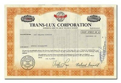 Trans-Lux Corporation Stock Certificate - Scoreboards, Tickers
