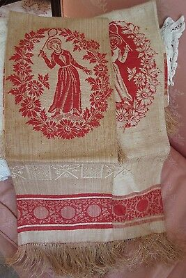 2 Antique Turkey Red Linen Towel Victorian Ladies Badminton Tennis Sport Figural