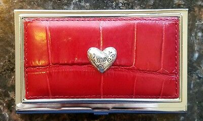 "Brighton Leather Business Card Holder Case RED ""LOVE"" Heart Design NWT Love Beat"
