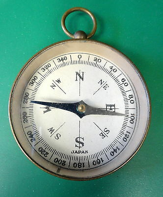 Vintage Brass Pocket Compass W/ring