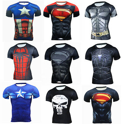 Mens Athletic Compression T Shirt Gym Sport Dri Fit Short Sleeve Jersey 3D Print