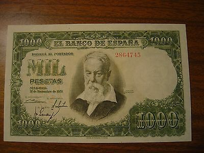 Old Spain Banknote 1000 Pesetas 1951