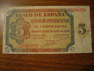 Old Spain Banknote 5 Pesetas 1938