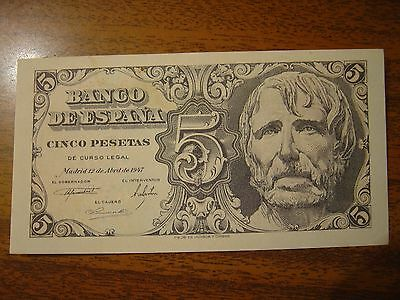 Old Spain Banknote 5 Pesetas 1947