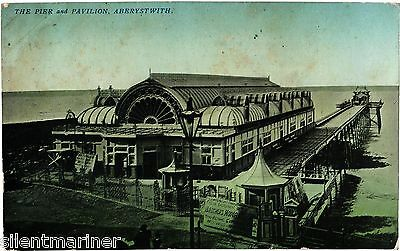 Aberystwyth, Pier and Pavilion, old postcard, posted 1906