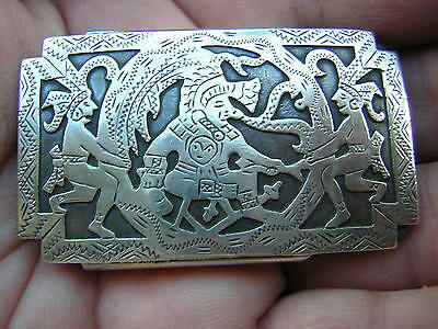 Vintage Very Ornate Hand Made Guatemala Sterling Silver Belt Buckle