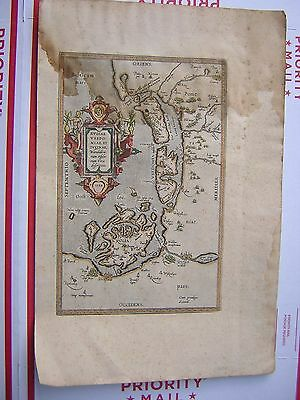 Very Rare Hand Colored 1584 Map Very Ornate Oriens, Meridies, Occidens + Areas