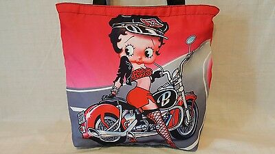 Betty Boop Zip-top Tote Bag - Betty Boop riding a motorcycle